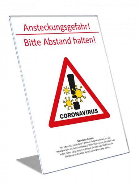 """Theken-Aufsteller: Corona-Virus COVID-19 """"Abstand halten"""" Hinweis-Schild   M1"""